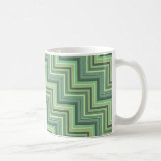 Olive green stripes stairs pattern coffee mug