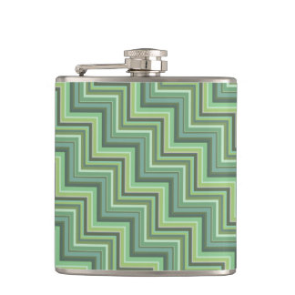Olive green stripes stairs pattern hip flask