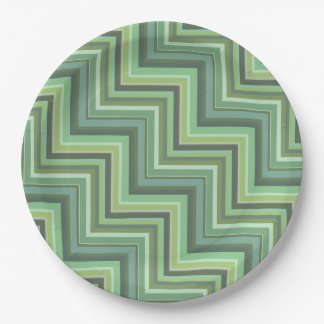 Olive green stripes stairs pattern paper plate
