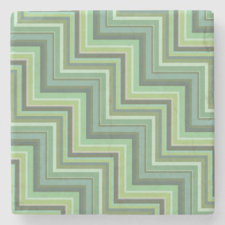 Olive green stripes stairs pattern stone coaster