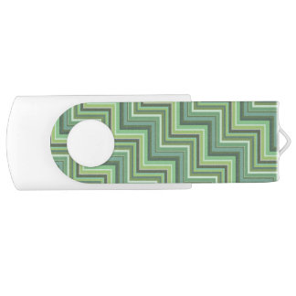 Olive green stripes stairs pattern USB flash drive