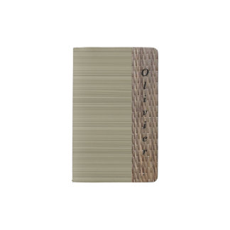 Olive green stripes tatami print personalized name pocket moleskine notebook