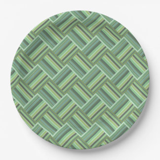 Olive green stripes weave 9 inch paper plate