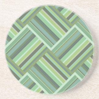 Olive green stripes weave coaster