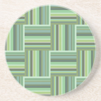 Olive green stripes weave pattern coaster