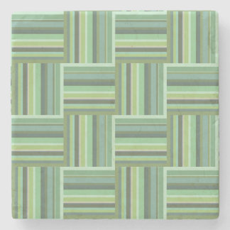 Olive green stripes weave pattern stone coaster
