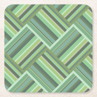 Olive green stripes weave square paper coaster