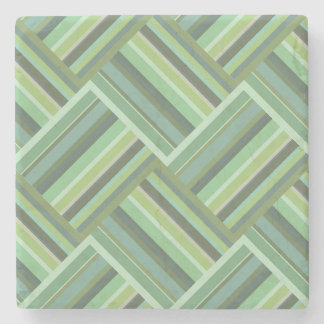 Olive green stripes weave stone coaster