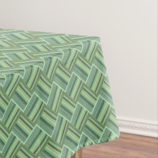 Olive green stripes weave tablecloth