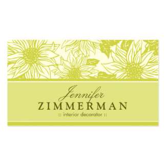Olive Green Sunflowers Floral Business Card