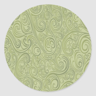 Olive Green Swirls Classic Round Sticker