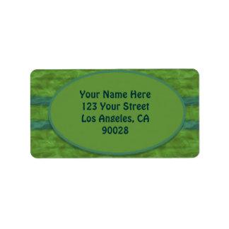 olive green teal  texture address label