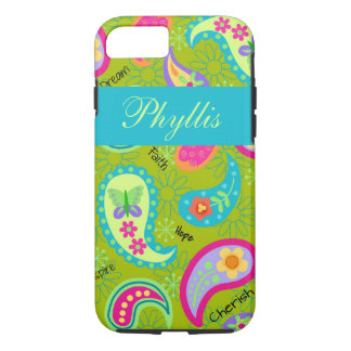 Olive Green Turquoise Modern Paisley Name iPhone 7 Case