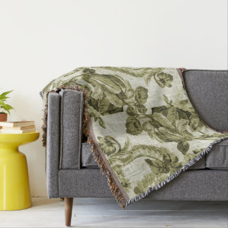 Olive Green Vintage Botanical Floral Toile Fabric Throw Blanket
