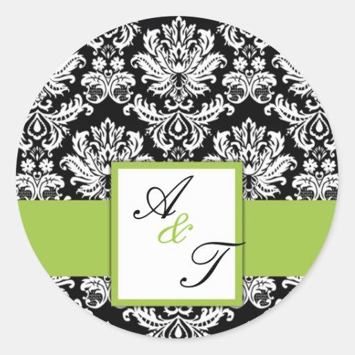 Olive Green Wedding Monogram Damask Seal Round Stickers