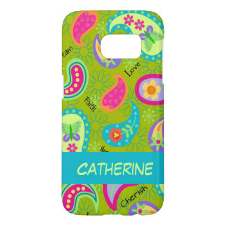 Olive Green Whimsy Paisley Name Personalized