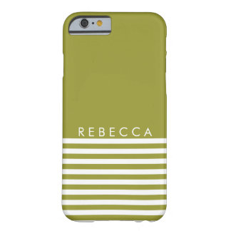 Olive Green, White Striped Personalized Barely There iPhone 6 Case