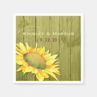 Olive Green Wood Rustic Sunflower Wedding Paper Napkin
