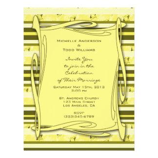 Olive Green Yellow  Striped Wedding 21.5 Cm X 28 Cm Flyer