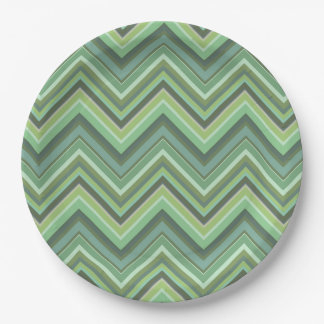 Olive green zigzag stripes 9 inch paper plate