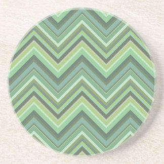 Olive green zigzag stripes coaster