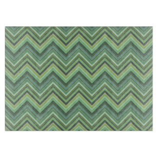 Olive green zigzag stripes cutting board
