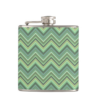 Olive green zigzag stripes flask