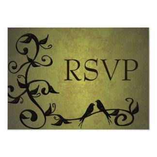 Olive Grunge Vines RSVP Card