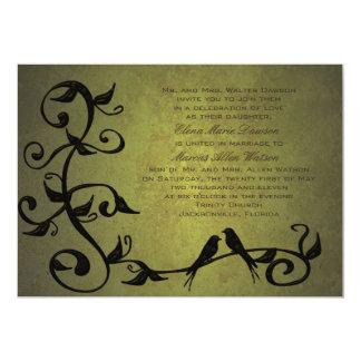 Olive Grunge Vines Wedding Invitation