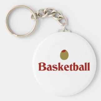 Olive (I Love) Basketball Basic Round Button Key Ring