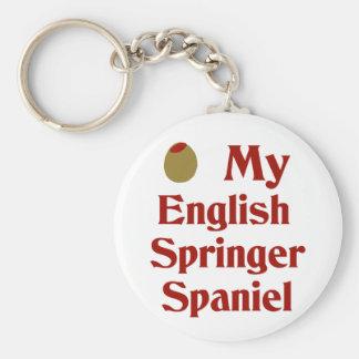 Olive (I Love) My English Springer Spaniel Basic Round Button Key Ring