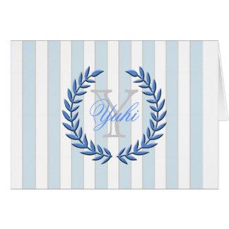 Olive Leaf A7 Greeting Card (Blue)