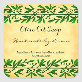 Olive Leaf Custom Soap Faux Parchment Sticker
