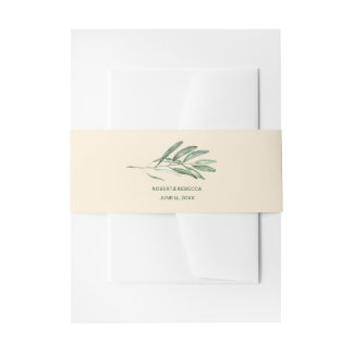 Olive Leaves Invitation Belly Band cream