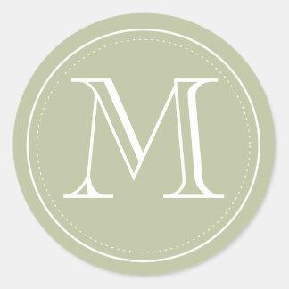Olive Monogram Envelope Seal by Origami Prints Round Sticker