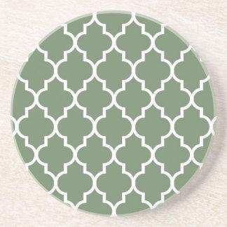 Olive Moroccan Quatrefoil Pattern Coaster