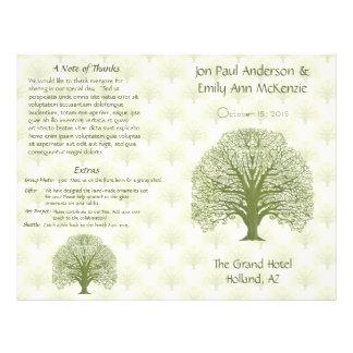 Olive Oak Wood Grain Tree Wedding Program Custom Flyer