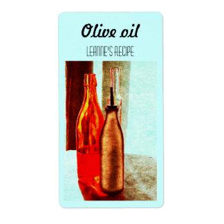 Olive oil bottles still life label