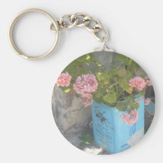 Olive Oil Tin in Bloom Basic Round Button Key Ring