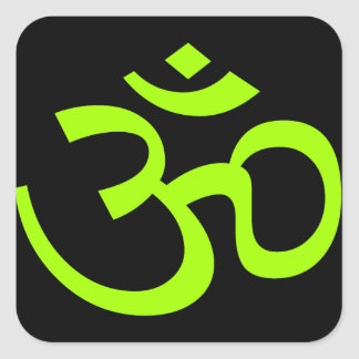 Olive Om or Aum ॐ.png Square Stickers