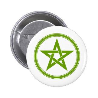 Olive Pentacle Pentagram 6 Cm Round Badge