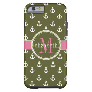 Olive Pink White Ships Anchors Monogram Tough iPhone 6 Case