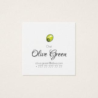 Olive restaurant square business card