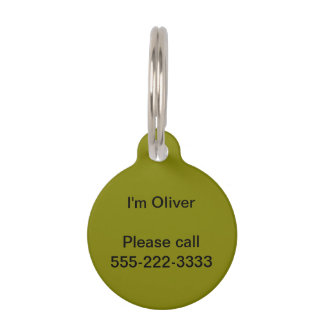 Olive Solid Color Pet Name Tag