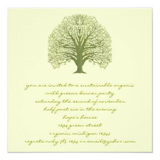 Olive Swirl Tree Invitation
