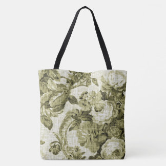 Olive Tone Vintage Botanical Floral Toile Fabric Tote Bag