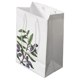 Olive Tree Branch | Green Purple Medium Gift Bag