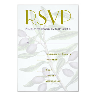 Olive Tree Branch Wedding RSVP | Green Purple Card