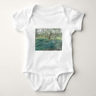 Olive tree in the garden baby bodysuit