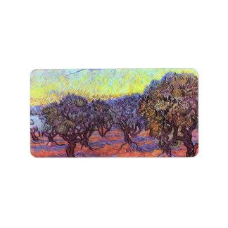 Olive Trees by Vincent van Gogh Label